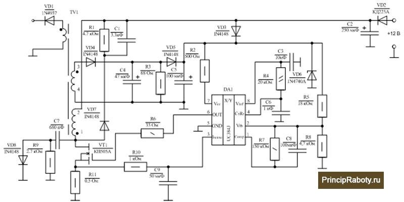Схемы включения uc3843, uc3842, ka3525a, uc3845, sg3525, uc3844, uc3846 - описание и принцип работы
