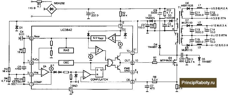 Типовая схема включения uc3842