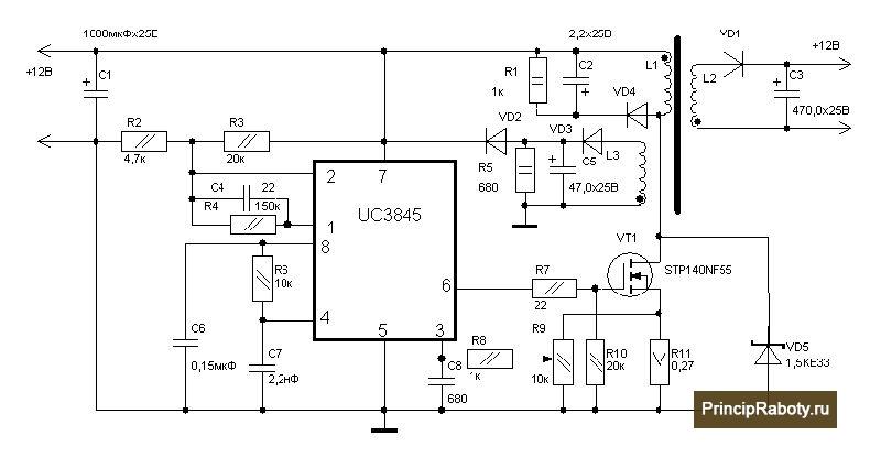 Схема включения микрочипа uc3845