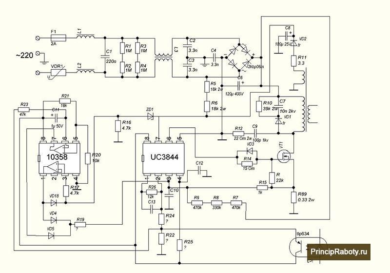 Схема включения микрочипа uc3844