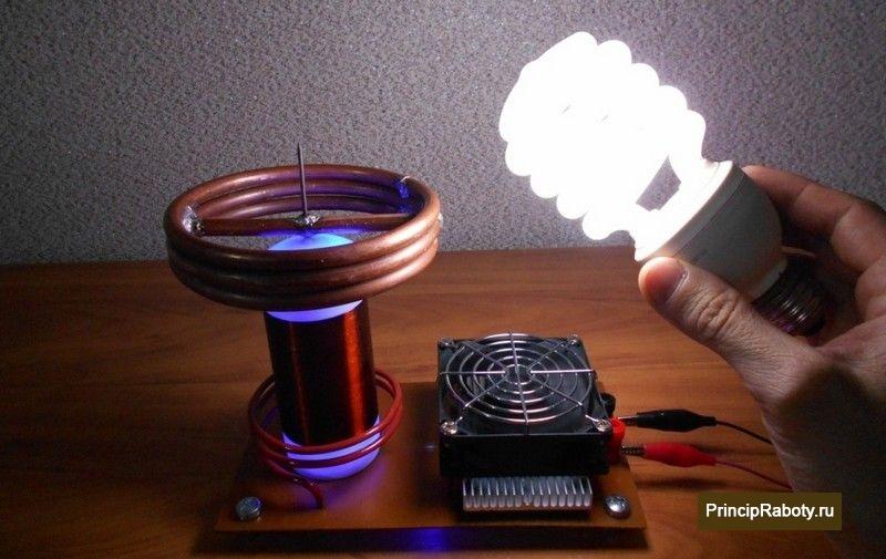 Передача энергии без проводника катушкой Тесла